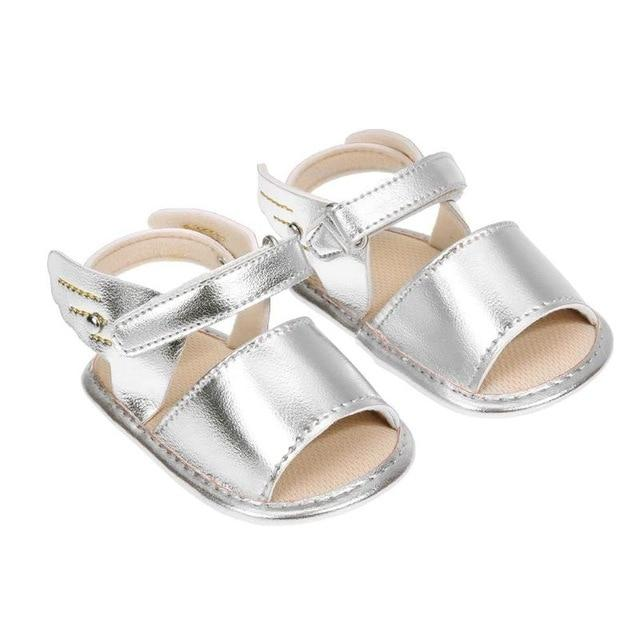 Newborn Baby Girls Wings Sandals Summer PU Solid Color Soft Casual Beach Shoes  0-18Months