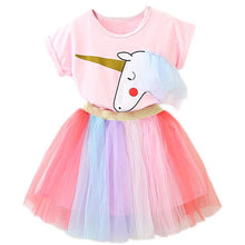 Load image into Gallery viewer, Kids Baby Colorful Dress Halloween Carnival Party Costumes Sweet Girls School Casual Dress Rainbow Princess Girls 2 3 4 5 6 Year