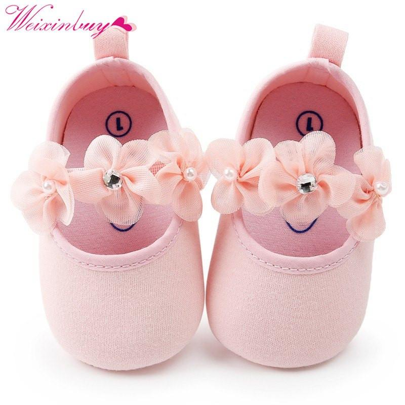 Newborn Baby Girl Shoes Spring Autumn Flowers Diamond Gauze Cotton Soft Baby Shoes Princess Fashion Baby Shoes