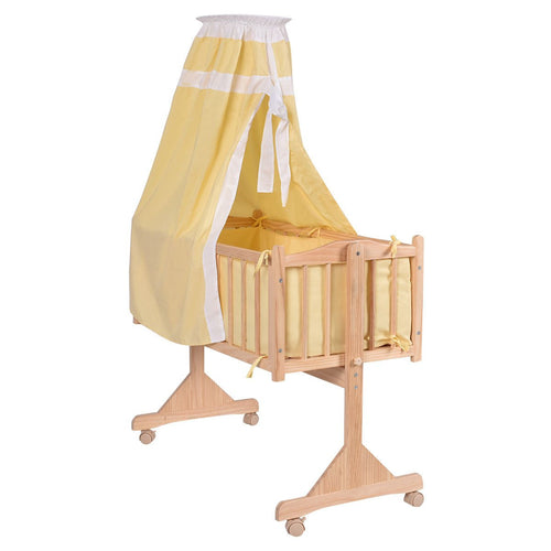 Yellow Costway Wood Rocking Crib