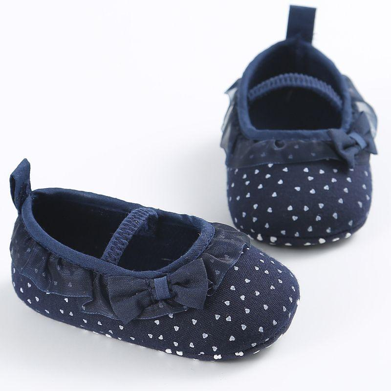 Mother & Kids Baby Shoes White Bowknot Dot Newborn Baby Girl Lace Shoes Toddler Prewalker Anti-slip Shoe Simple Baby Shoes