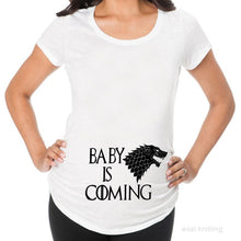 Load image into Gallery viewer, YF0022 Pregnant Woman White Tops Game of Thrones Baby is Coming Maternity T Shirt
