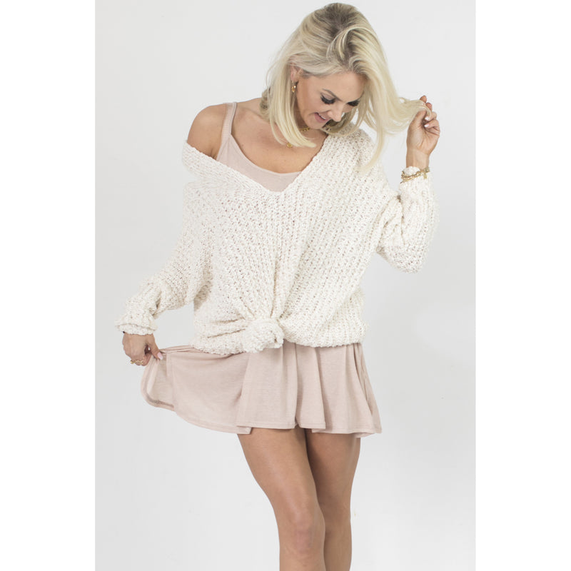 Evie Sweater in Ivory V neck over sized slouchy sweater