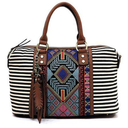 Bohemian Striped Canvas Bag