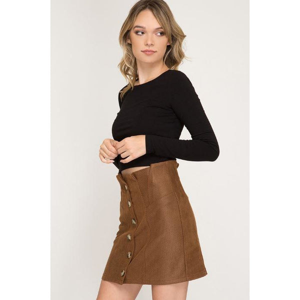 Striped Faux Suede Mini Skirt