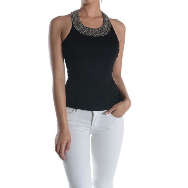 Beaded Neck Ruched Tank