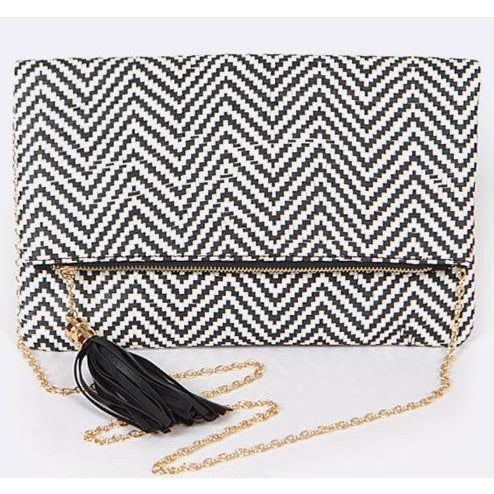 Weaved/Textured Fold Over Clutch Purse