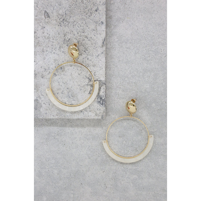 Starring Role Gold White Hoop Earrings
