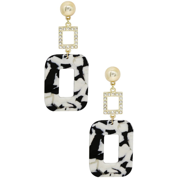 Outside the Box Resin Rhinestone Dangle Earrings Black and White