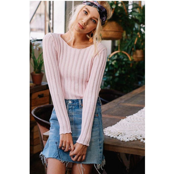 Politely Poised Knit Sweater Soft Pink