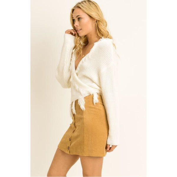 Fringe Tie Front Sweater Ivory