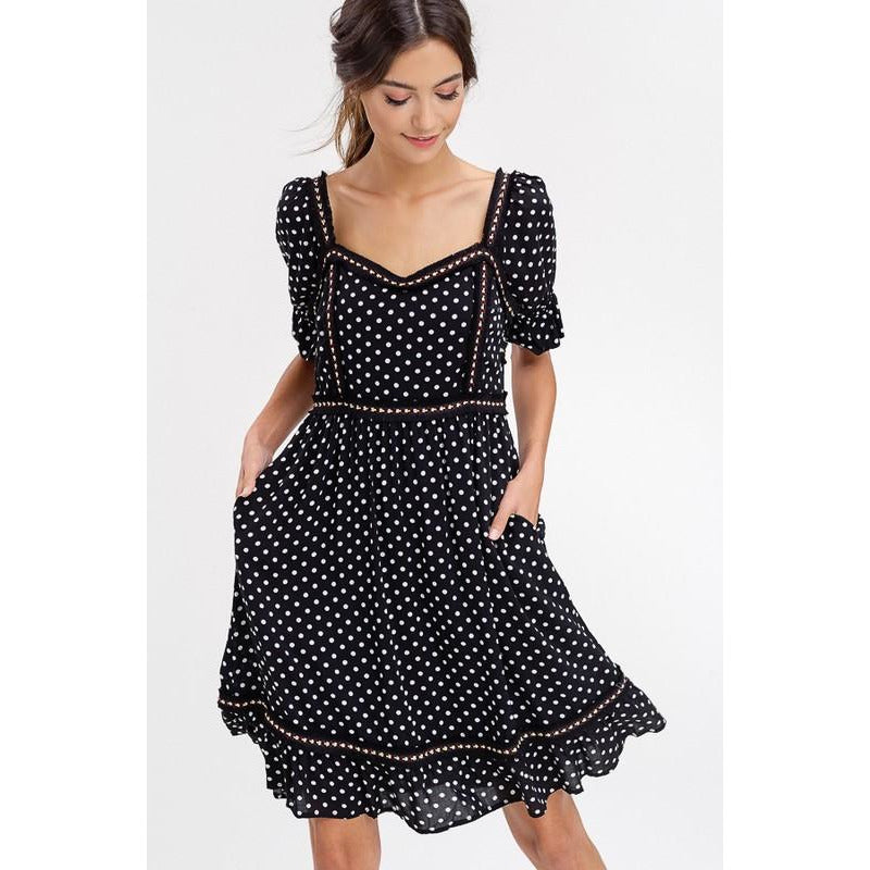 Save This Dance Dress Polka Dot Black and White