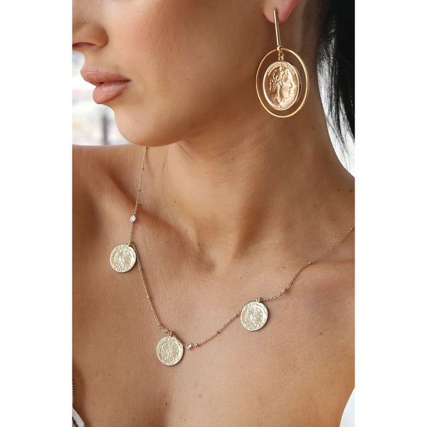Lady Luck Gold Coin Earrings Dangles