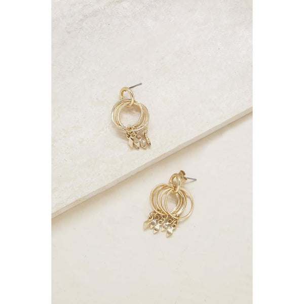 Ring My Bell Gold Hoop Earrings with Dangles