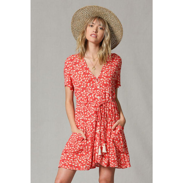 Chasing Fireflies Dress Coral Sun Dress V Neck Revolve