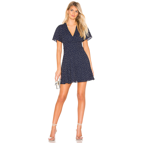 La La Land Dotted Dress Blue Ruffle Dress Revolve BB Dakota