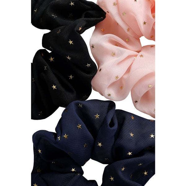 Cosmo Scrunchie Set Navy Black Pink Stars