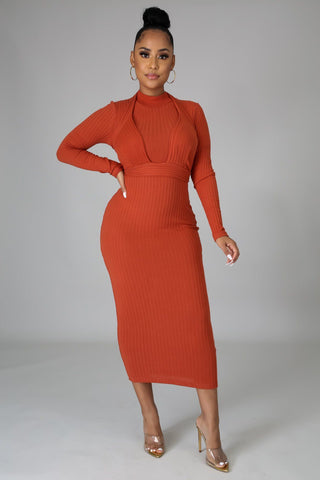 Alexa 2pc Dress Set - Rust