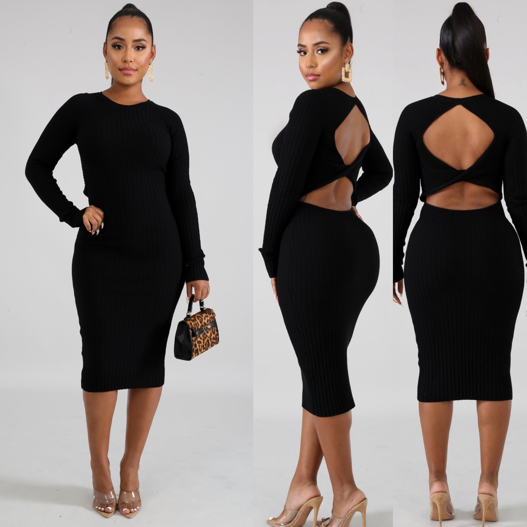 Knit Twist Dress- Black