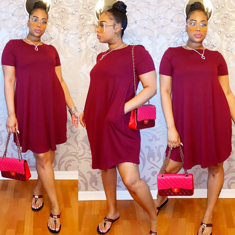 Easy Breezy Dress - Burgundy