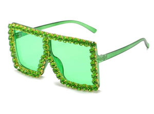 Rhinestone Oversized Shades - Green