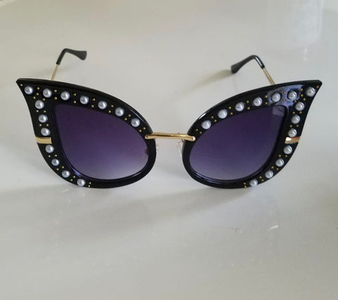 Black Cat Eye Pearl Glasses