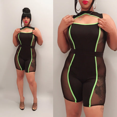 Tracy Cut Out Romper-Lime Green