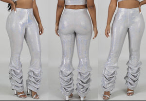 Party With Me Rushed Pants-Silver