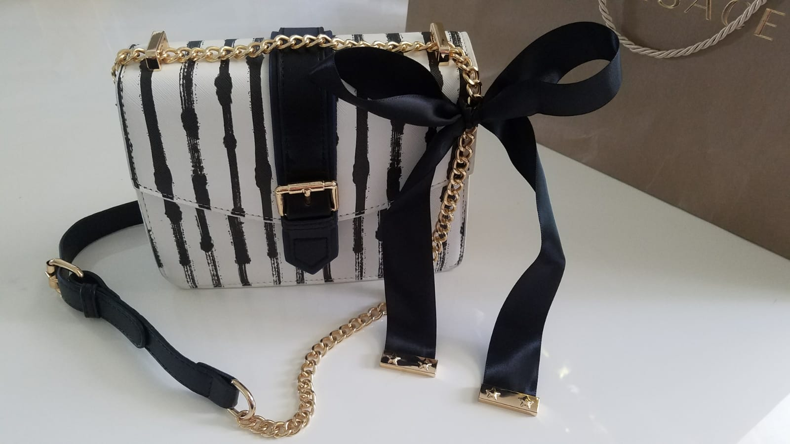 Black & White Stripes Bag W/ Removable Bow