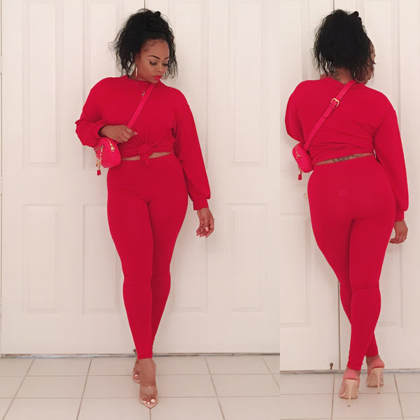 Red Oversized Shirt Set