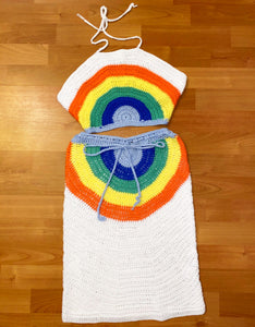 Rainbow Crochet Skirt Set