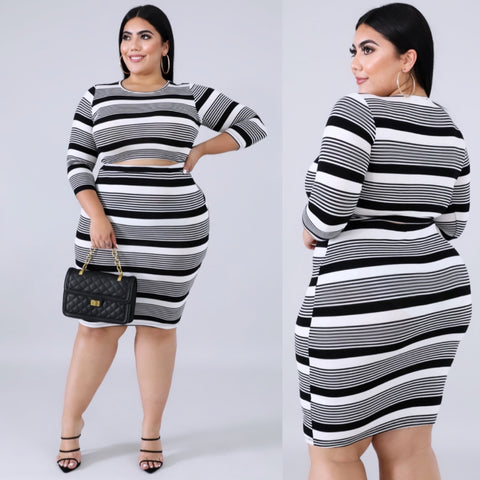 Black & White Skirt Set