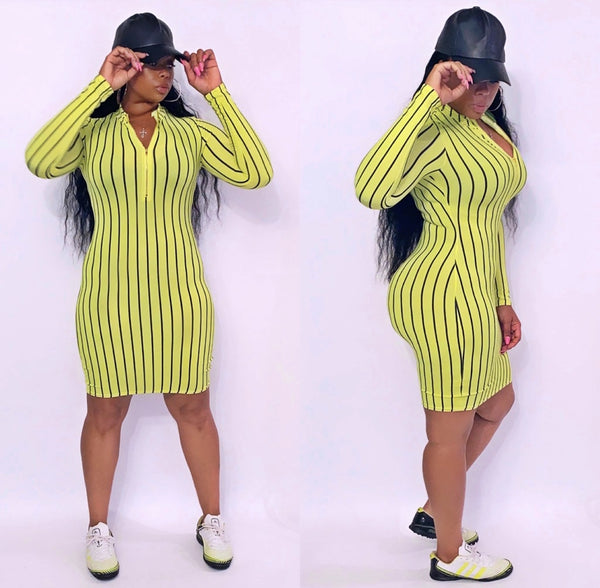 Between The Lines Dress - Neon Yellow