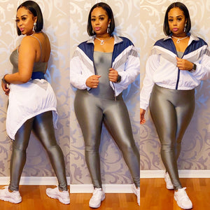 Silver Jumpsuit Set