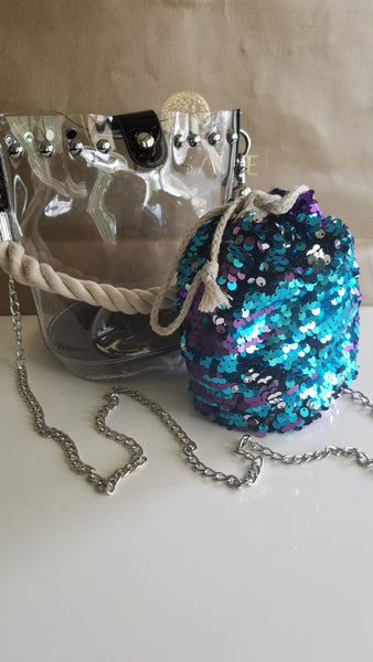 Sequin Clear Bucket Bag