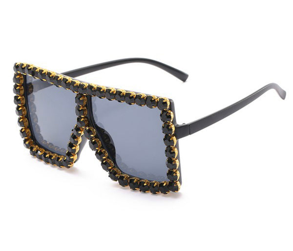 Rhinestone Oversized Shades - Black
