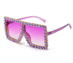 Rhinestone Oversized Shades - Purple