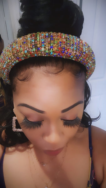 Rainbow Rhinestone Head Band