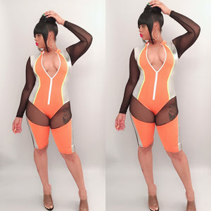 Futuristic Romper-Orange