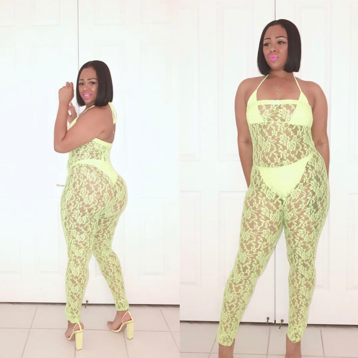 Highlight Me Yellow Lace Jumpsuit