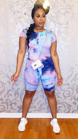 Ari Tie Dye Romper - Cotton Candy