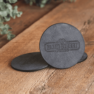 Main Street Forge Leather Coaster Set with Tray - 4 Round Coasters for Drinks with Square Holder for Men - Hand Made in USA - Rustic Modern Design Great for Coffee Table, Bar, Kitchen, Dining Room