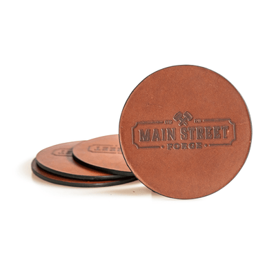 Main Street Forge Rio Latigo Leather Coaster Set with Tray - 4 Round Coasters for Drinks with Square Holder for Men - Hand Made in USA - Rustic Modern Design Great for Coffee Table, Bar, Kitchen, Dining Room 816895023242