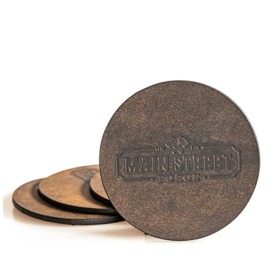 Main Street Forge Crazy Horse Leather Coaster Set with Tray - 4 Round Coasters for Drinks with Square Holder for Men - Hand Made in USA - Rustic Modern Design Great for Coffee Table, Bar, Kitchen, Dining Room 816895023259