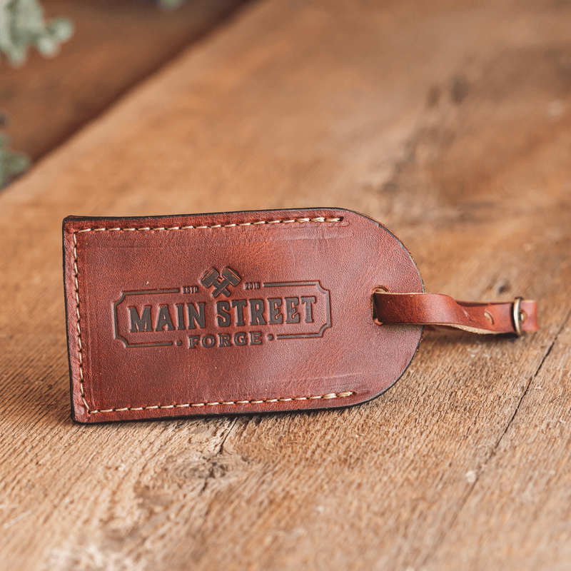 Full Grain Leather Luggage Tag | Made in USA | Baggage Tag for Men & Women