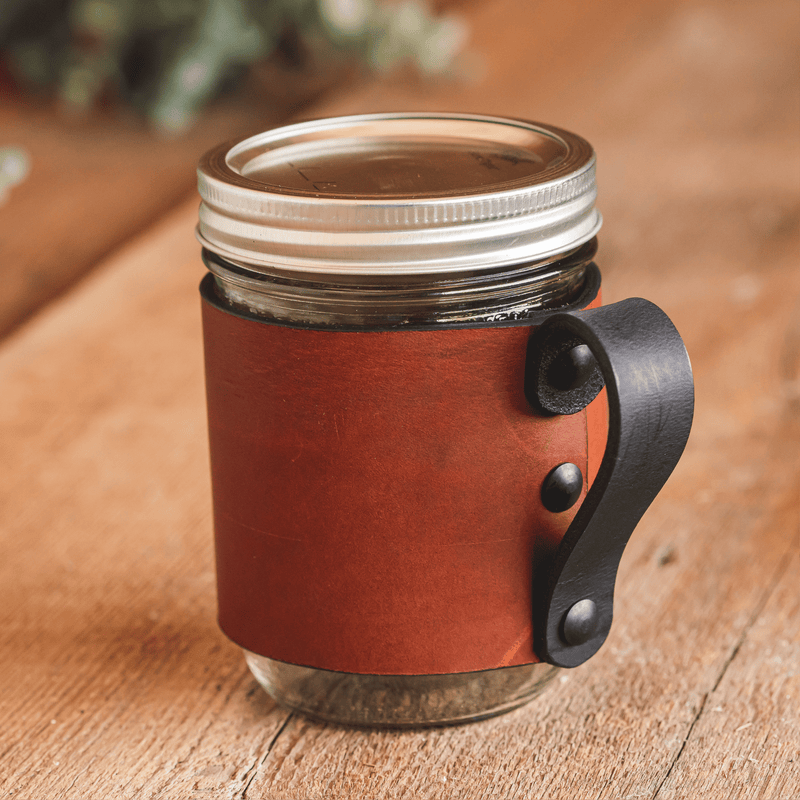 Mason Jar Wrap with Handle -  For Hot & Cold Drinks - Made in USA with Lifetime Warranty