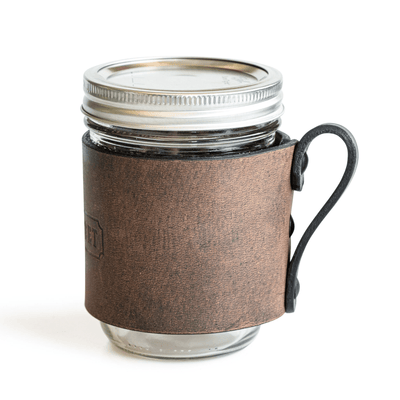 Main Street Forge Leather Mason Jar Sleeve with Handle