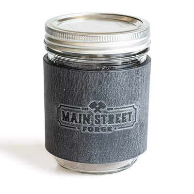 Main Street Forge Avalanche Gray Leather Mason Jar Sleeve with Handle 816895023051