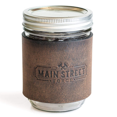 Main Street Forge Bootlegger Brown Leather Mason Jar Sleeve with Handle 816895023099