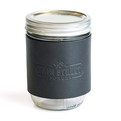 Main Street Forge Midnight Black Leather Mason Jar Sleeve with Handle 816895023068